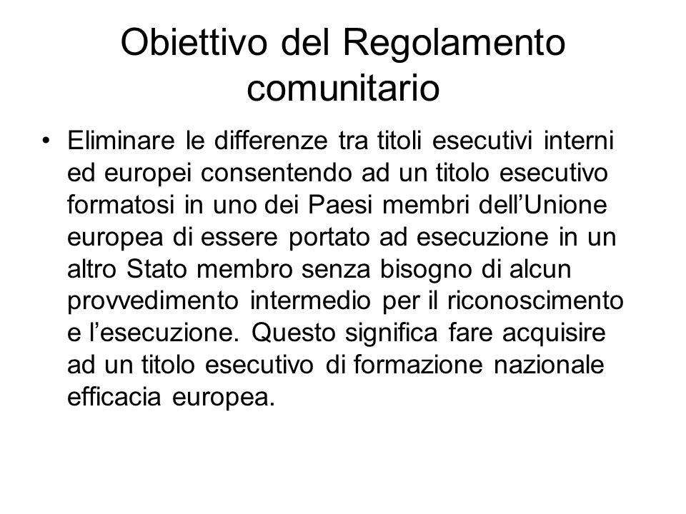 Obiettivo del Regolamento comunitario
