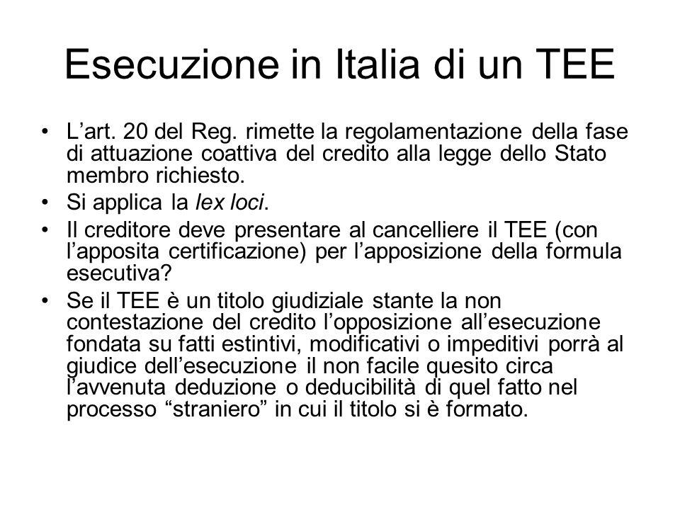 Esecuzione in Italia di un TEE