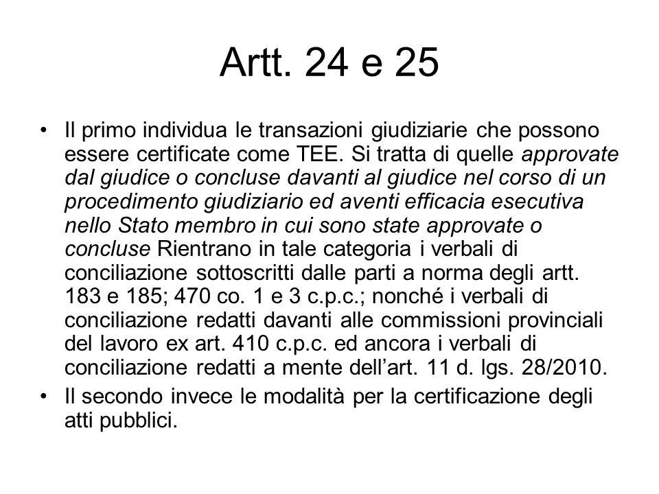 Artt. 24 e 25