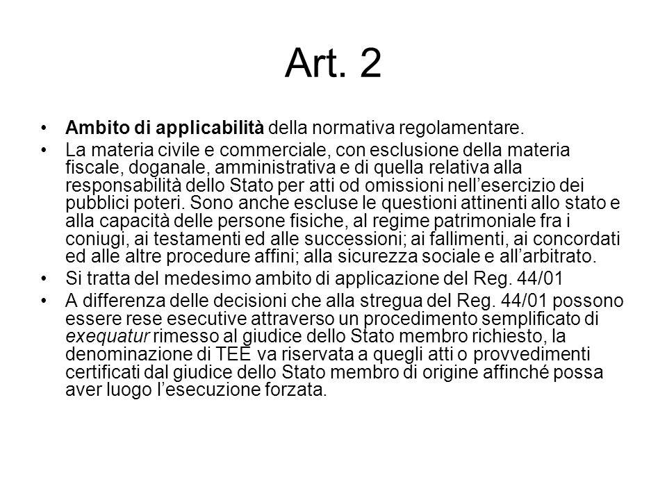 Art. 2 Ambito di applicabilità della normativa regolamentare.