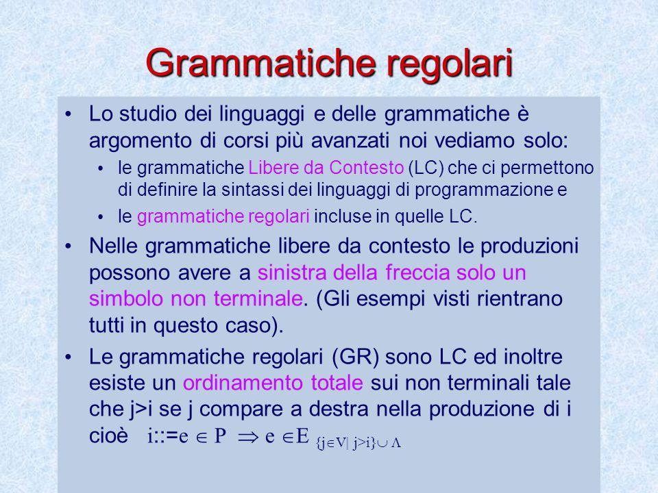Grammatiche regolari Lo studio dei linguaggi e delle grammatiche è argomento di corsi più avanzati noi vediamo solo: