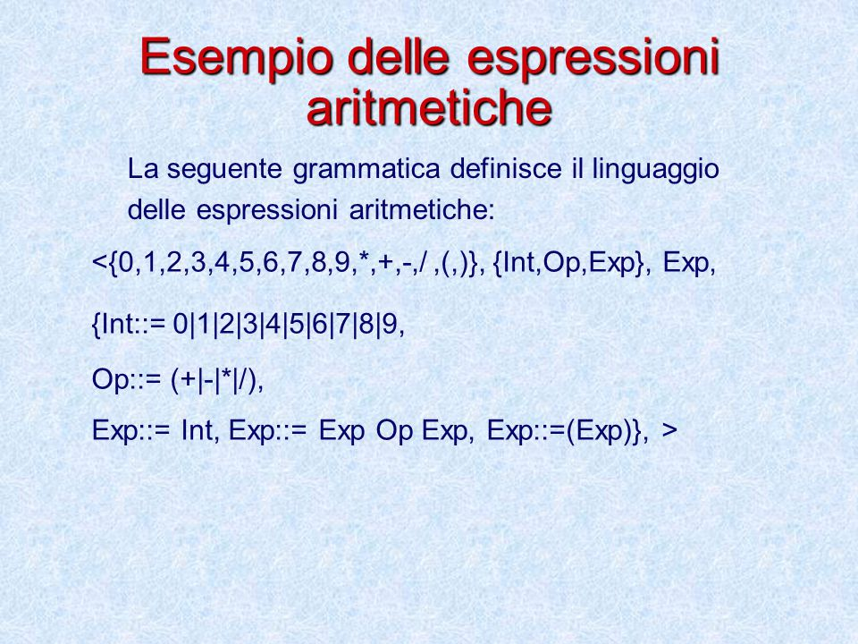 Esempio delle espressioni aritmetiche