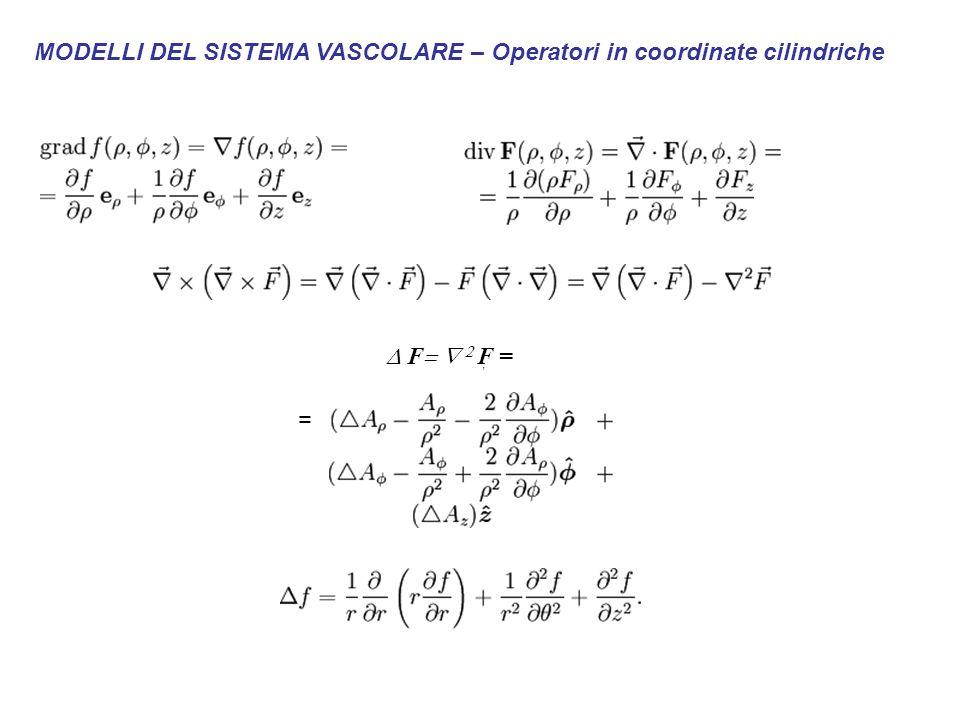 MODELLI DEL SISTEMA VASCOLARE – Operatori in coordinate cilindriche