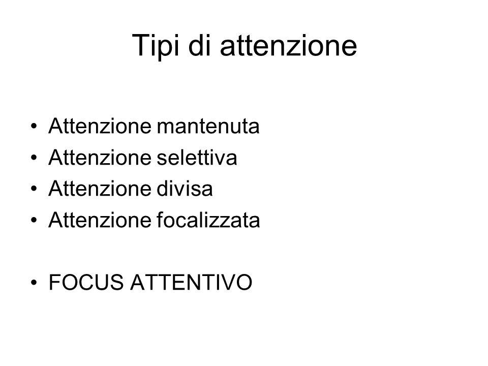 Tipi di attenzione Attenzione mantenuta Attenzione selettiva