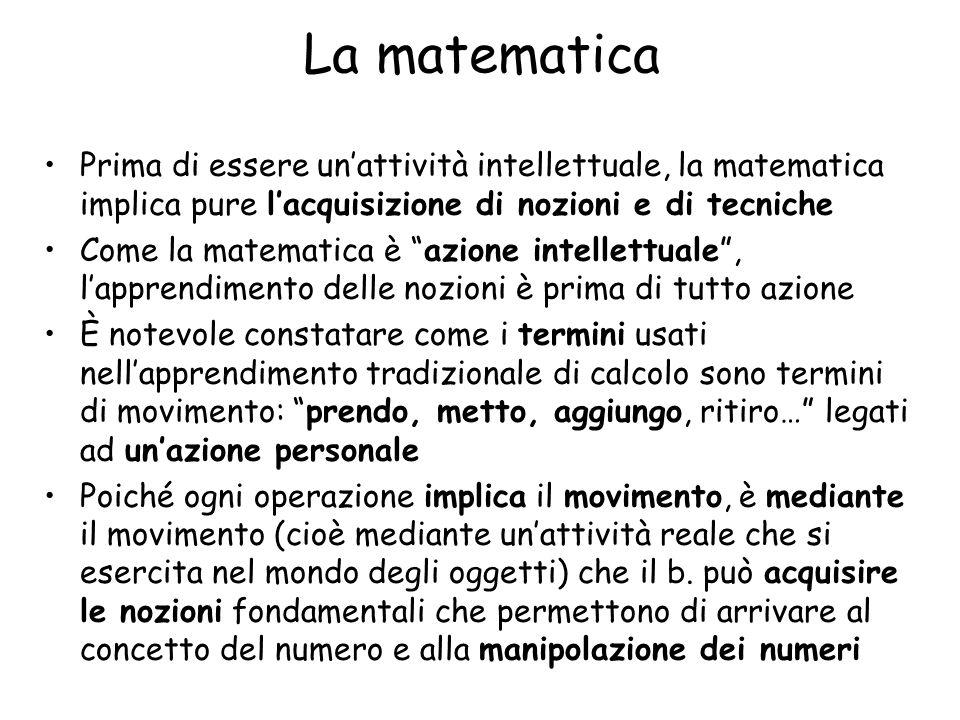 La matematica Prima di essere un'attività intellettuale, la matematica implica pure l'acquisizione di nozioni e di tecniche.