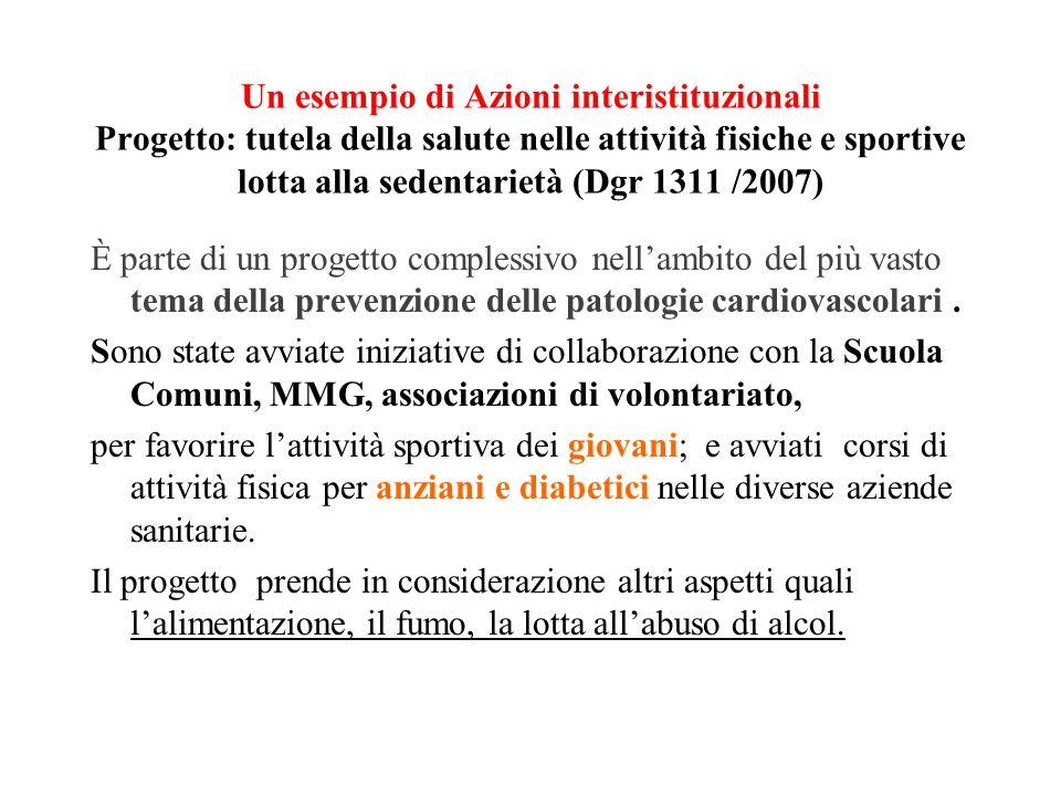 Un esempio di Azioni interistituzionali Progetto: tutela della salute nelle attività fisiche e sportive lotta alla sedentarietà (Dgr 1311 /2007)