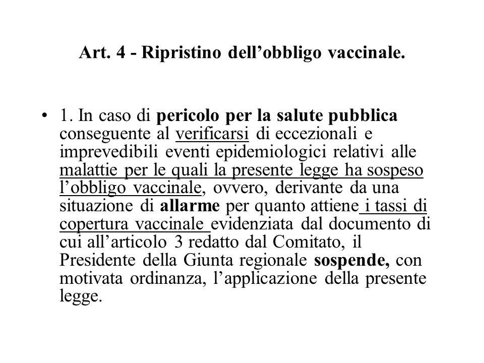 Art. 4 - Ripristino dell'obbligo vaccinale.