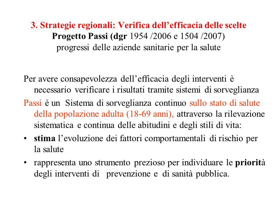 3. Strategie regionali: Verifica dell'efficacia delle scelte Progetto Passi (dgr 1954 /2006 e 1504 /2007) progressi delle aziende sanitarie per la salute