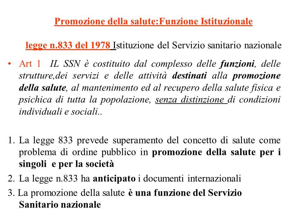 Promozione della salute:Funzione Istituzionale legge n