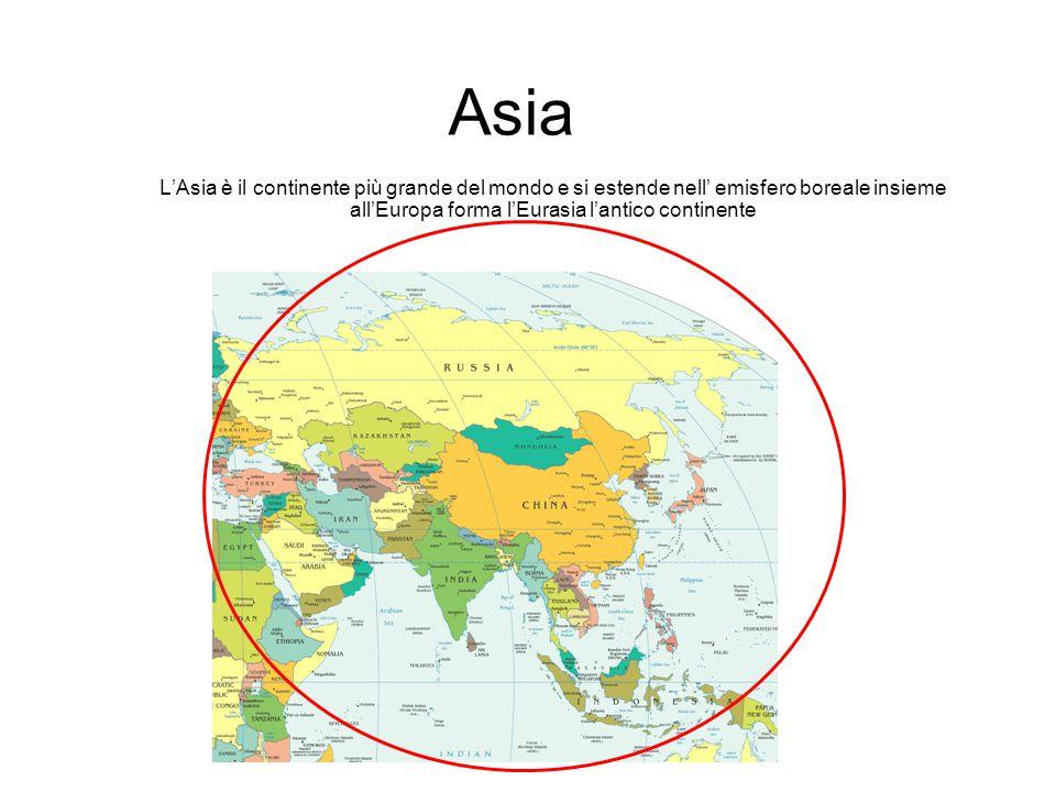Asia L'Asia è il continente più grande del mondo e si estende nell' emisfero boreale insieme all'Europa forma l'Eurasia l'antico continente.
