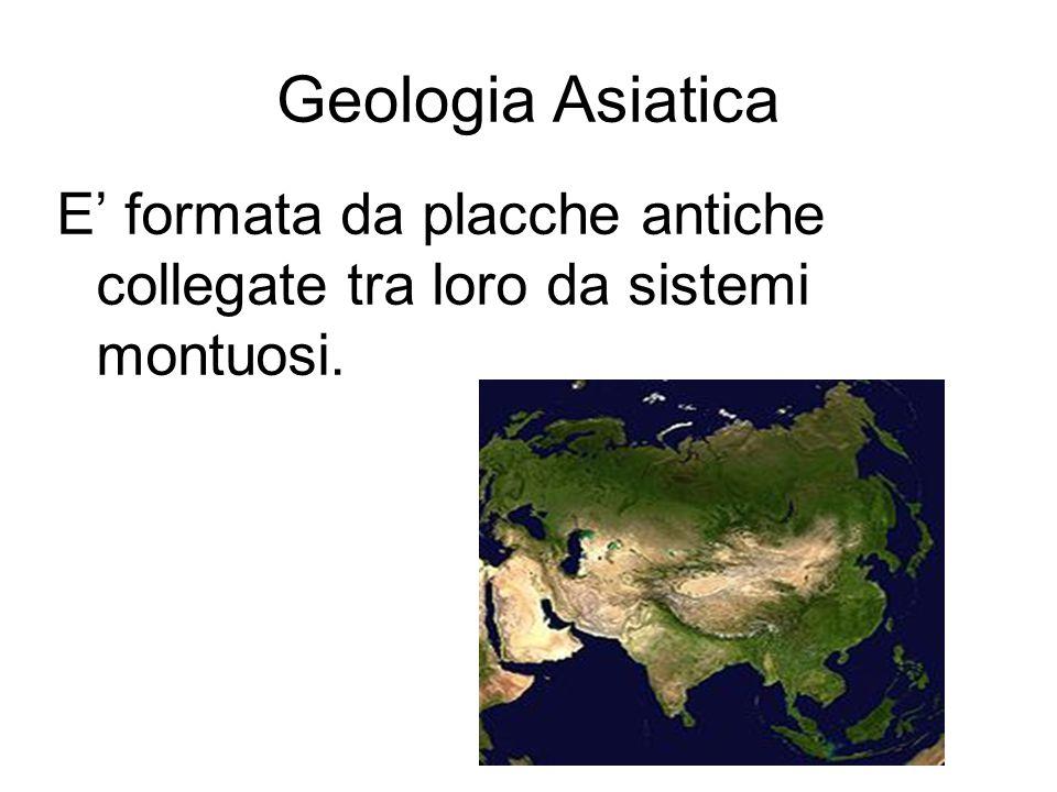 Geologia Asiatica E' formata da placche antiche collegate tra loro da sistemi montuosi.
