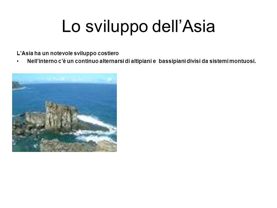 Lo sviluppo dell'Asia L'Asia ha un notevole sviluppo costiero