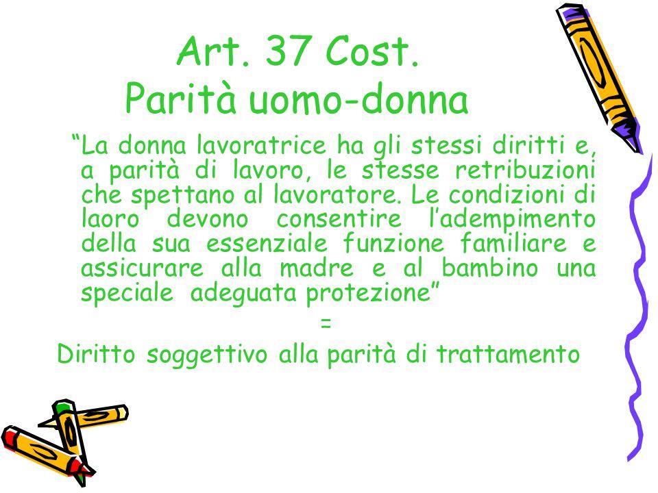 Art. 37 Cost. Parità uomo-donna