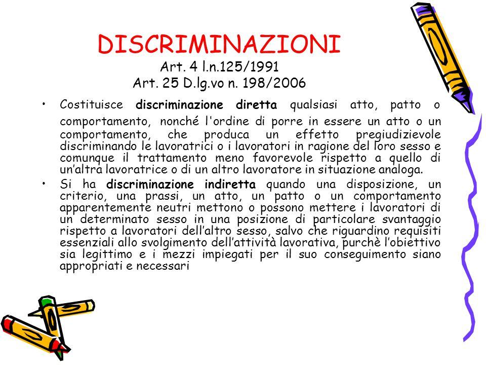 DISCRIMINAZIONI Art. 4 l.n.125/1991 Art. 25 D.lg.vo n. 198/2006