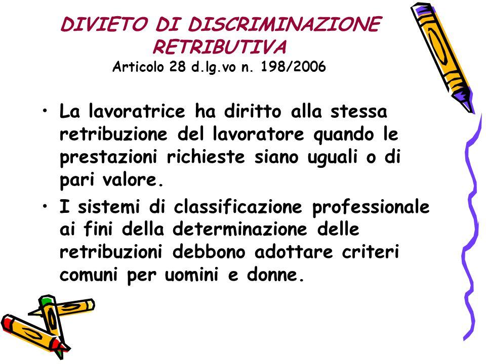 DIVIETO DI DISCRIMINAZIONE RETRIBUTIVA Articolo 28 d.lg.vo n. 198/2006