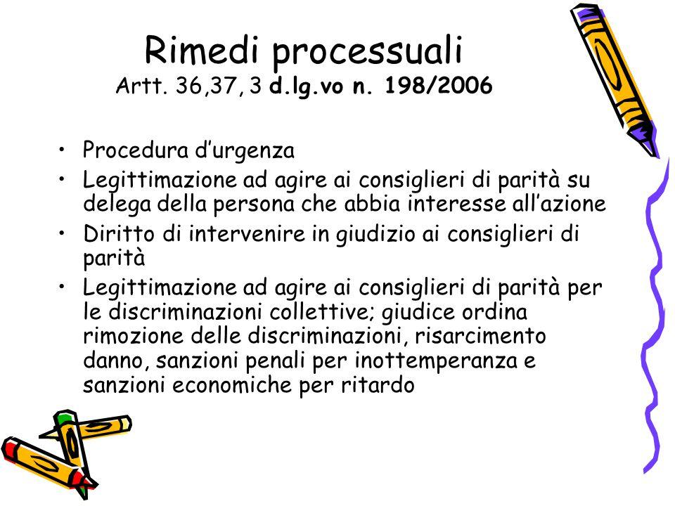 Rimedi processuali Artt. 36,37, 3 d.lg.vo n. 198/2006