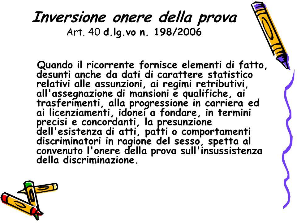 Inversione onere della prova Art. 40 d.lg.vo n. 198/2006