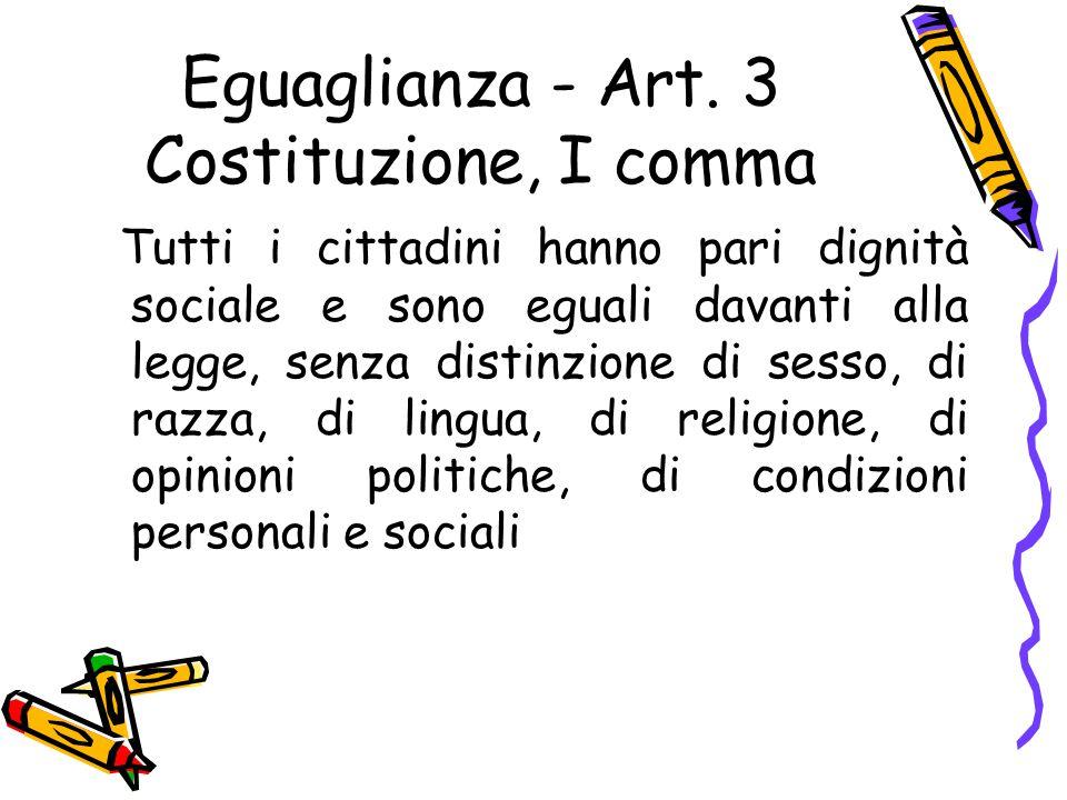 Eguaglianza - Art. 3 Costituzione, I comma