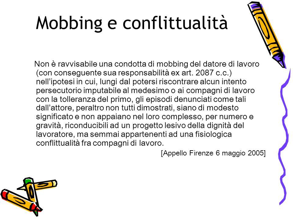 Mobbing e conflittualità