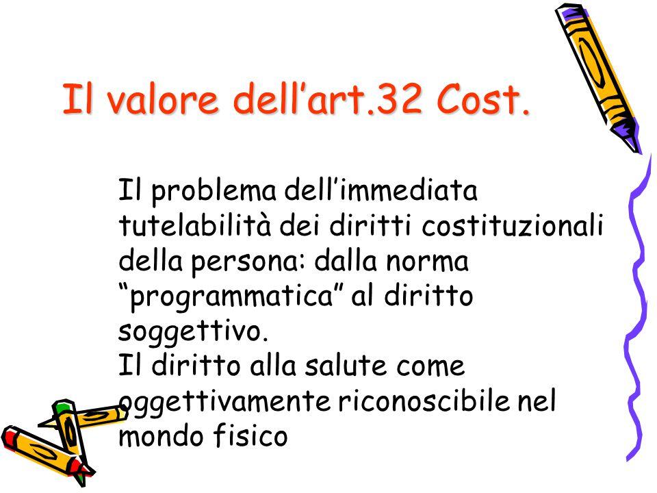 Il valore dell'art.32 Cost.
