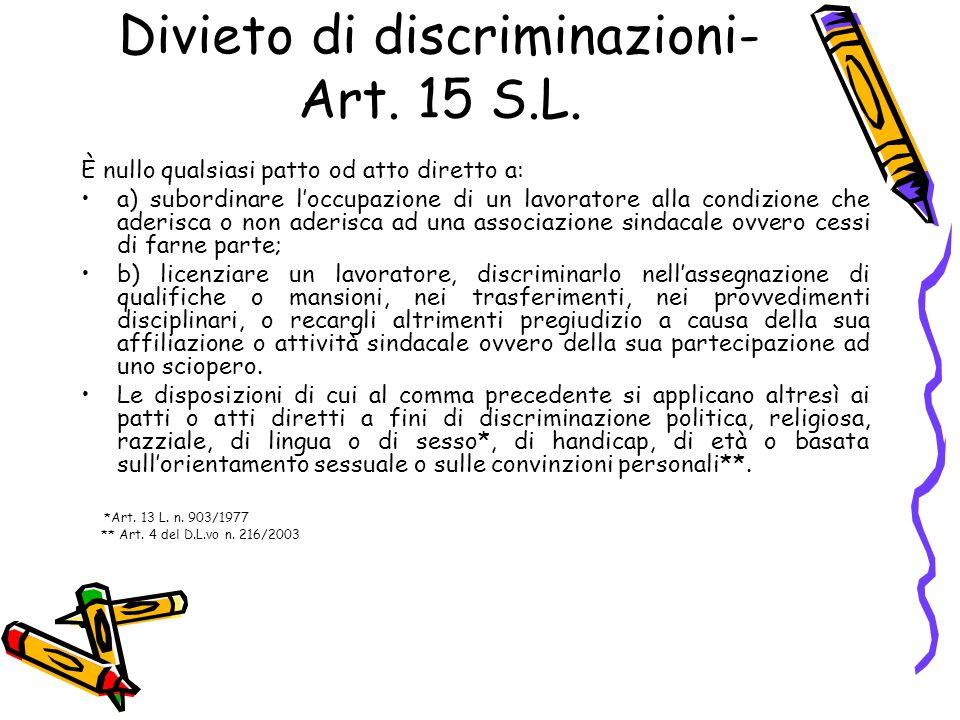 Divieto di discriminazioni- Art. 15 S.L.