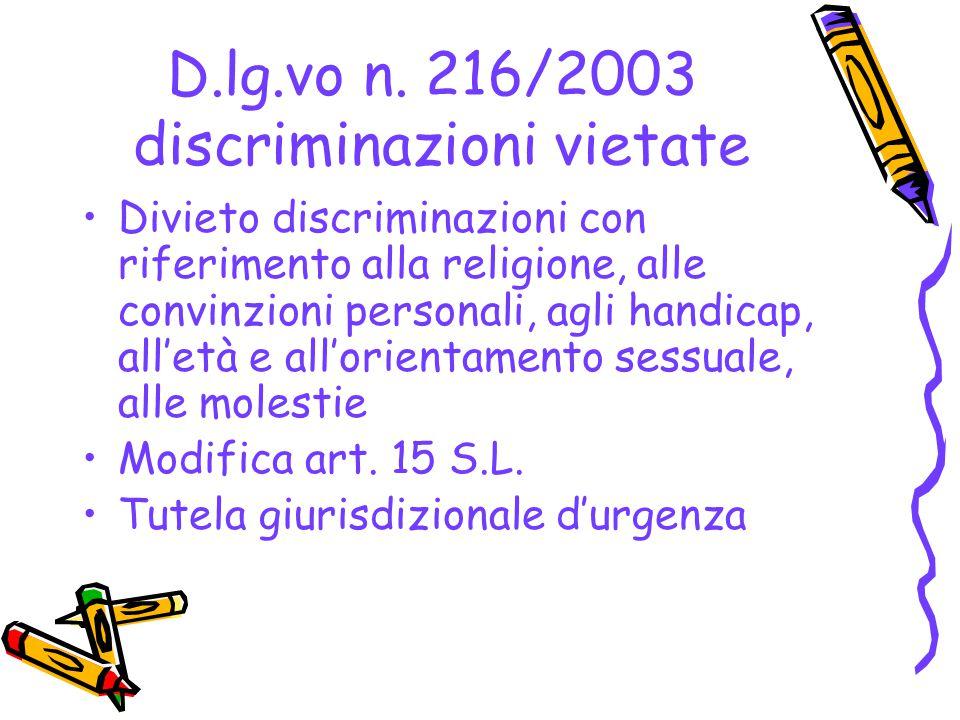 D.lg.vo n. 216/2003 discriminazioni vietate