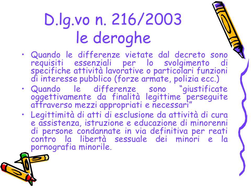 D.lg.vo n. 216/2003 le deroghe