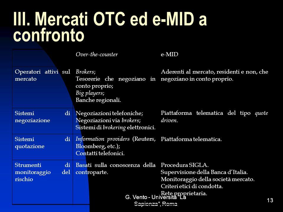III. Mercati OTC ed e-MID a confronto