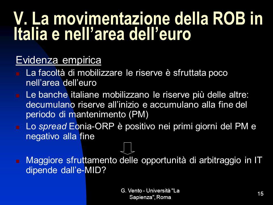 V. La movimentazione della ROB in Italia e nell'area dell'euro