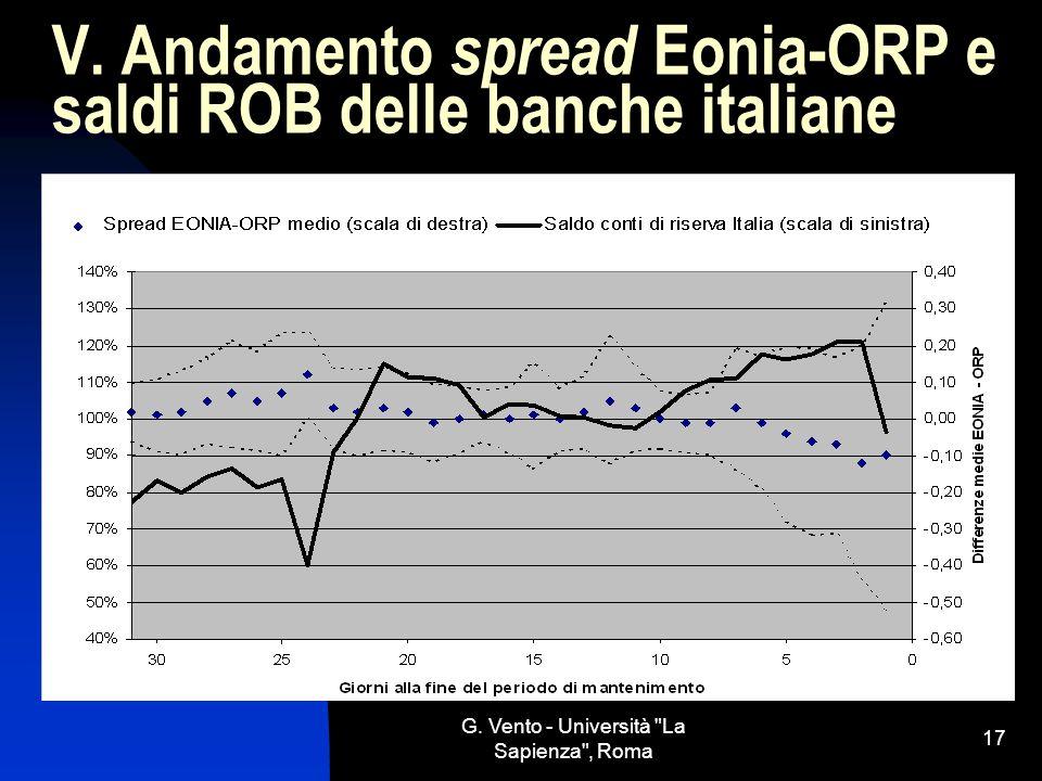 V. Andamento spread Eonia-ORP e saldi ROB delle banche italiane