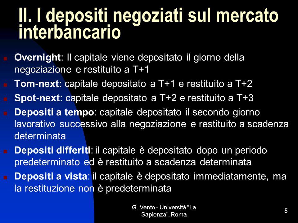 II. I depositi negoziati sul mercato interbancario