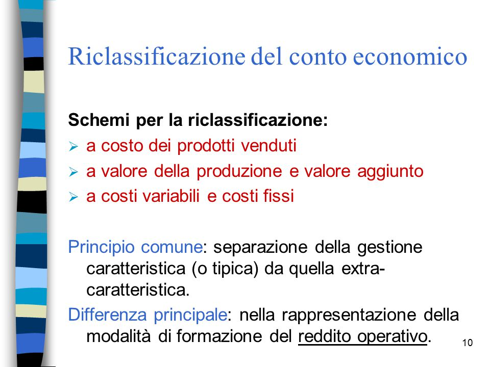 Riclassificazione del conto economico
