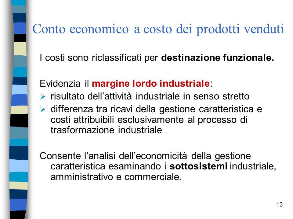 Conto economico a costo dei prodotti venduti