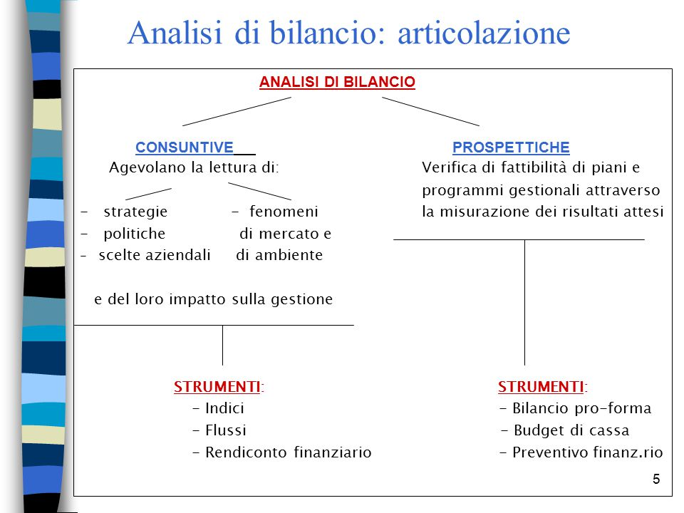 Analisi di bilancio: articolazione
