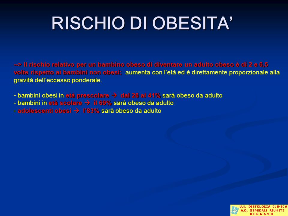 RISCHIO DI OBESITA'