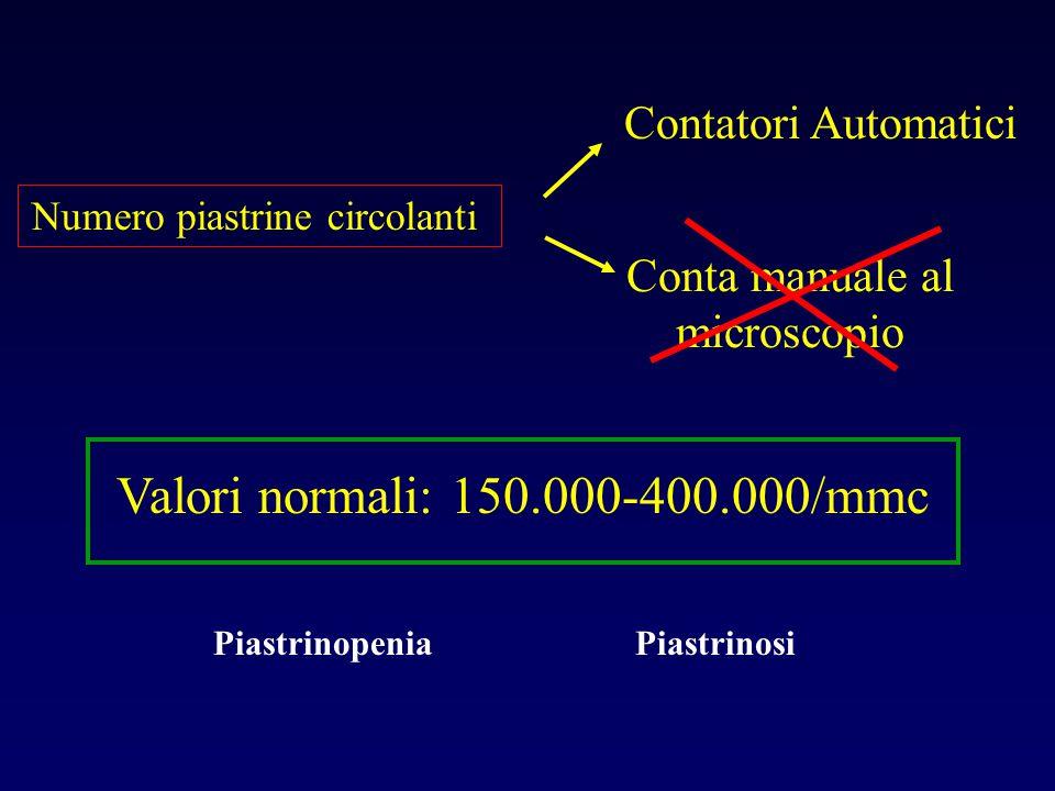 Valori normali: 150.000-400.000/mmc Contatori Automatici