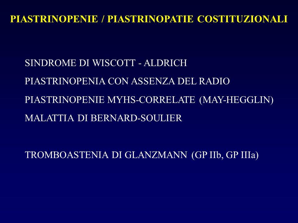 PIASTRINOPENIE / PIASTRINOPATIE COSTITUZIONALI