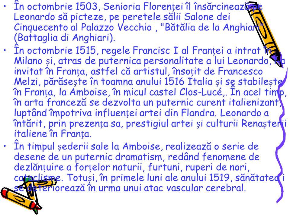 În octombrie 1503, Senioria Florenței îl însărcinează pe Leonardo să picteze, pe peretele sălii Salone dei Cinquecento al Palazzo Vecchio , Bătălia de la Anghiari (Battaglia di Anghiari).