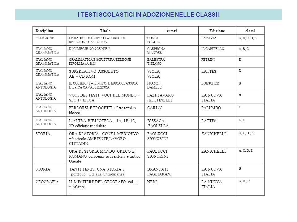 I TESTI SCOLASTICI IN ADOZIONE NELLE CLASSI I