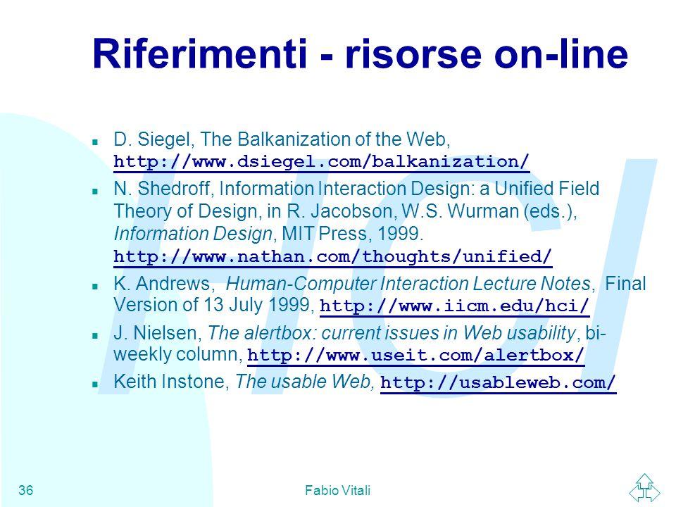 Riferimenti - risorse on-line