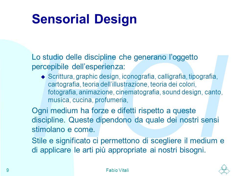 Sensorial Design Lo studio delle discipline che generano l'oggetto percepibile dell'esperienza:
