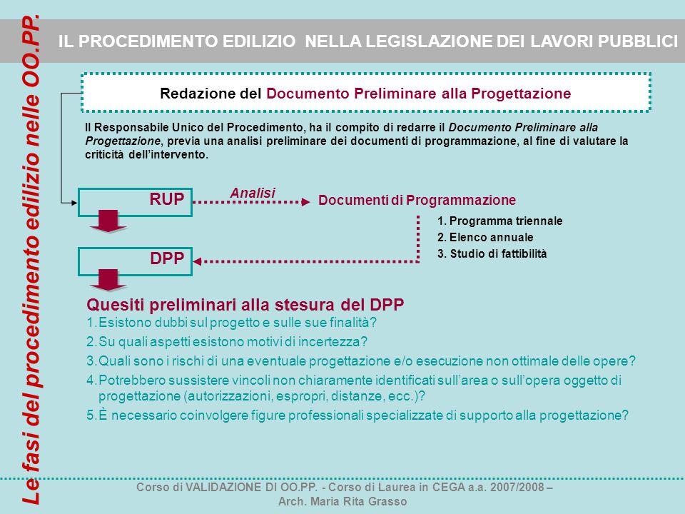 Redazione del Documento Preliminare alla Progettazione