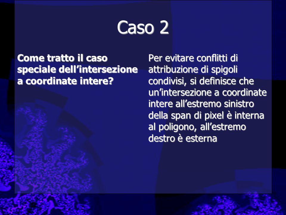 Caso 2 Come tratto il caso speciale dell'intersezione a coordinate intere