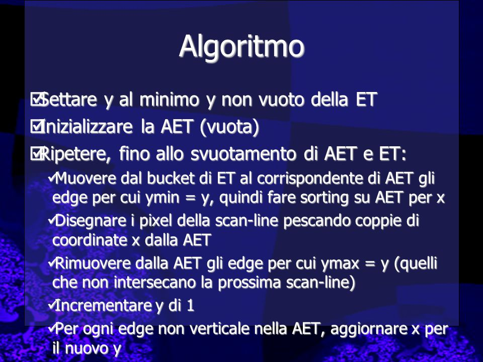 Algoritmo Settare y al minimo y non vuoto della ET