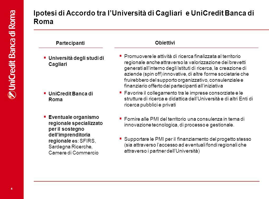 Ipotesi di Accordo tra l'Università di Cagliari e UniCredit Banca di Roma