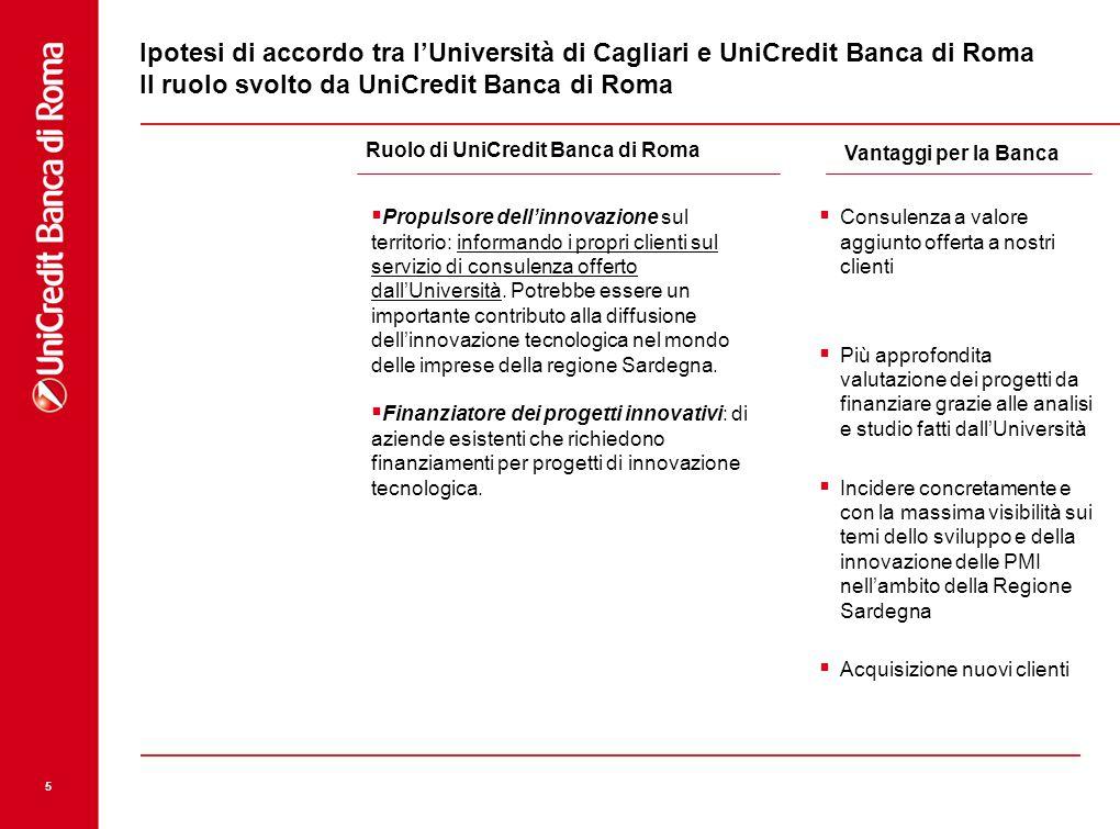 Ipotesi di accordo tra l'Università di Cagliari e UniCredit Banca di Roma Il ruolo svolto da UniCredit Banca di Roma
