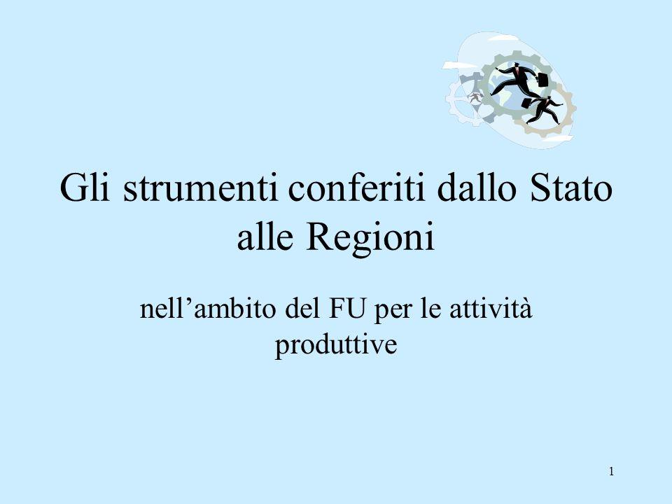 Gli strumenti conferiti dallo Stato alle Regioni