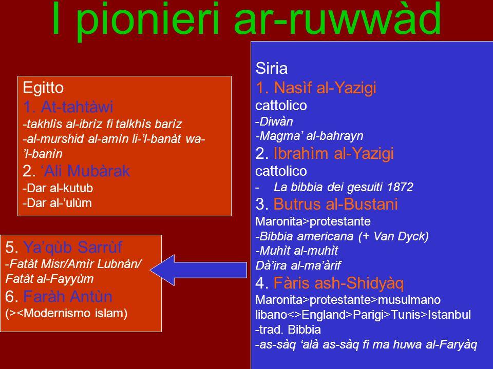 I pionieri ar-ruwwàd Siria Nasìf al-Yazigi Egitto At-tahtàwi