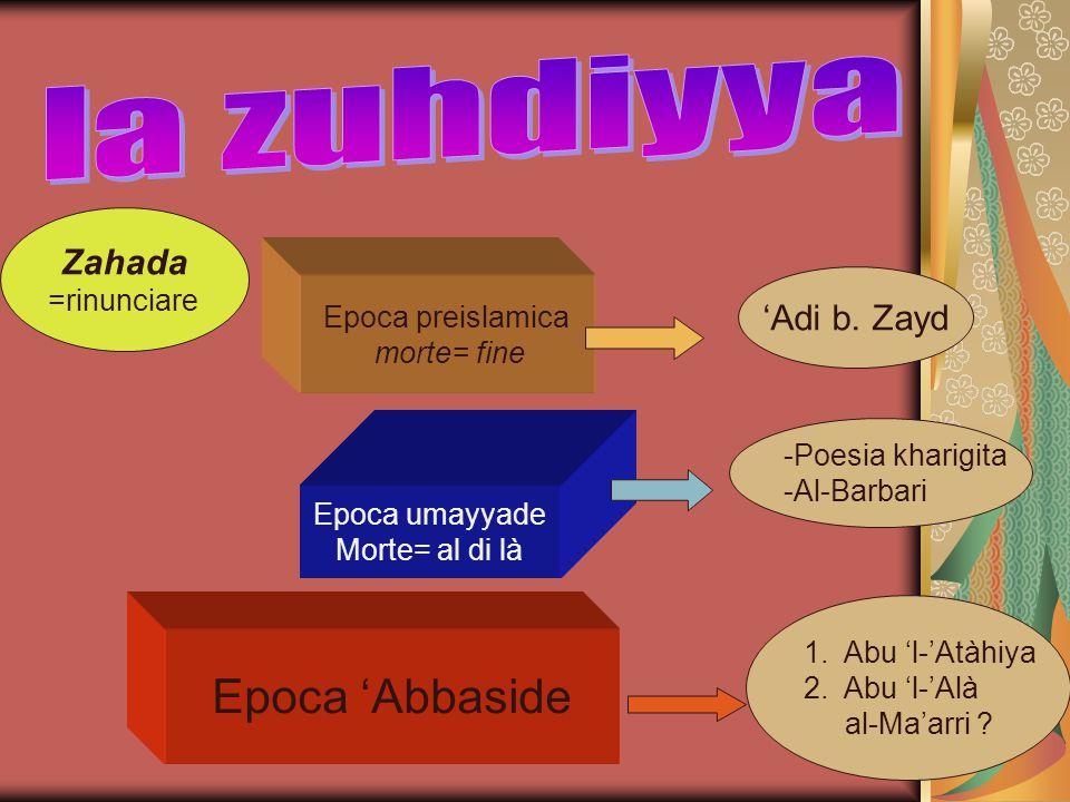 la zuhdiyya Epoca 'Abbaside Zahada 'Adi b. Zayd =rinunciare