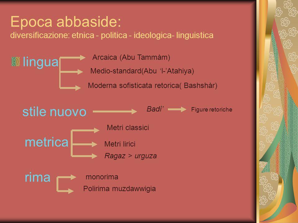 Epoca abbaside: diversificazione: etnica - politica - ideologica- linguistica